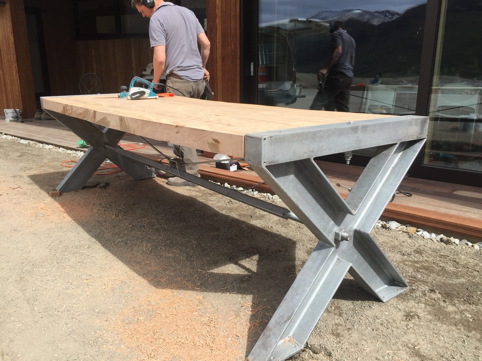 Handcrafted Outdoor Flitch Table Custom made
